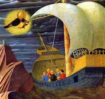 Den salige Fra Angelico (ca 1400-55): Den hellige Nikolas redder et skip (1437), altertavle fra Perugia i Pinacoteca i Vatikanet
